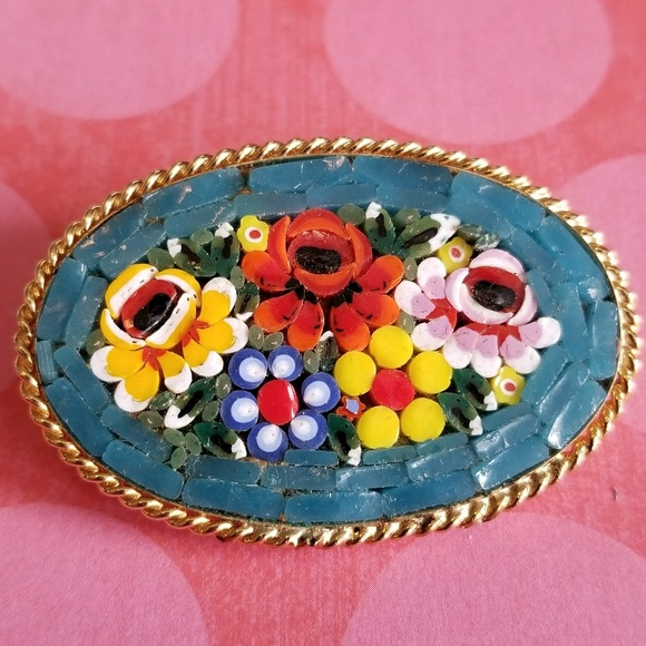 Vintage Gold tone Micro Mosaic Flower Brooch Pin and Clip on Earrings Matching  Set Marked Italy